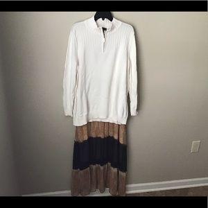 Boho skirt and zip henley sweater🍁🍂